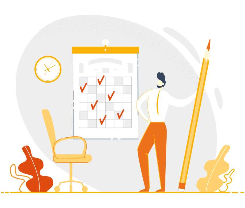 Illustration of a man holding an oversize pencil while standing in front of a calendar with tick marks