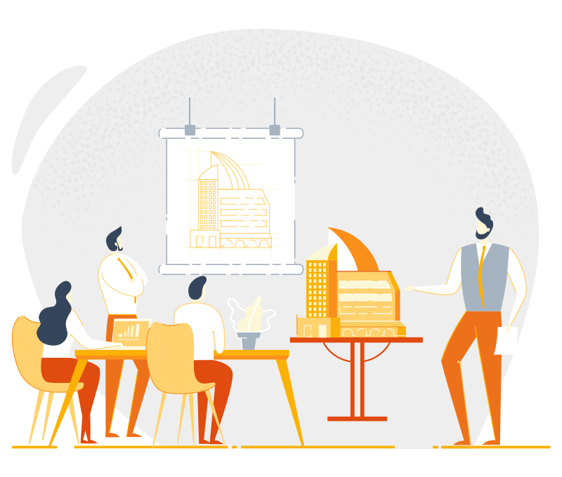 Illustration of peoples sitting at a meeting table in front of a building blueprint drawing