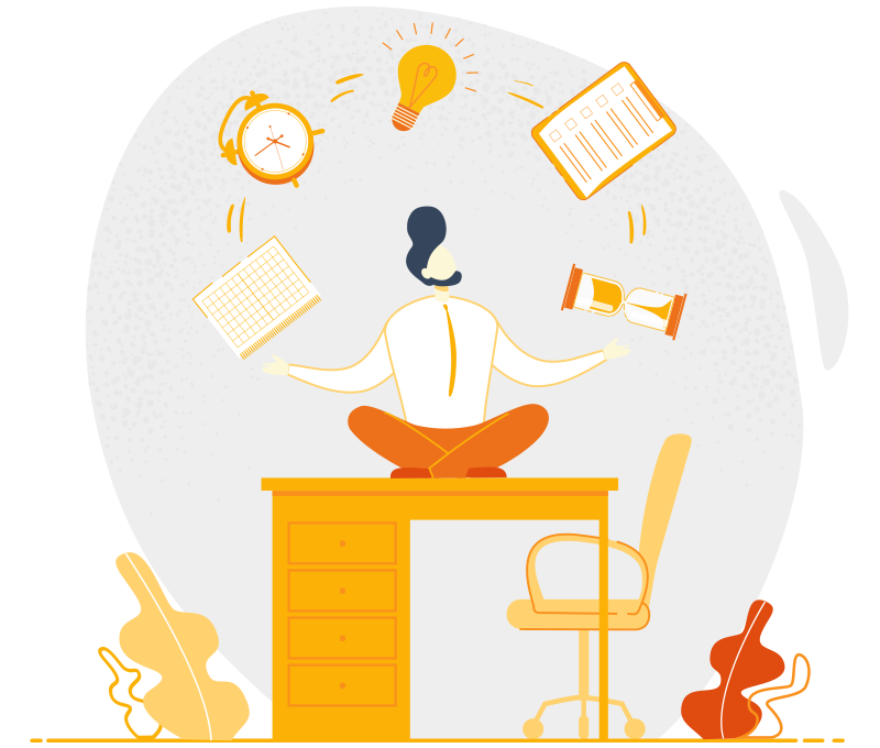 Illustration of a man sitting on his desk juggling a clock, a lightbulb, a notepad, and a sand clock together