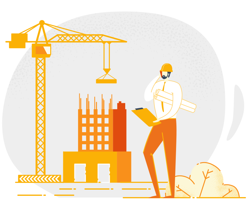 illustration of a man holding a notepad and wearing a safety helmet at a construction site